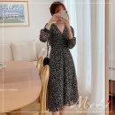 Dress Autumn 2020 black S,M,L,XL Middle-skirt singleton  Long sleeves commute V-neck Others 18-24 years old Korean version 3229#