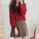 Fashion suit Winter of 2019 S. M, l, XL, one size fits all Check skirt, red sweater, white sweater Under 17 Other / other 71% (inclusive) - 80% (inclusive)