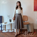 skirt Autumn of 2019 S,M,L,XL Coffee lattice skirt Mid length dress commute High waist stripe Type A 18-24 years old Other / other Retro