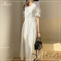 Dress Summer 2021 Off white S,M,L Mid length dress singleton  Short sleeve commute 18-24 years old Korean version 2073#