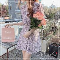 Dress Summer 2020 S,M,L Short skirt singleton  Short sleeve commute V-neck Decor 18-24 years old Korean version 3098#