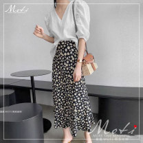 skirt Summer 2020 S,M,L,XL Daisy floral skirt Mid length dress High waist other Broken flowers 18-24 years old 5007# More than 95% other