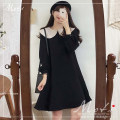 Dress Winter of 2019 Black dress with baby collar S,M,L,XL Short skirt singleton  Long sleeves commute Doll Collar Socket 18-24 years old Other / other Korean version 2030#