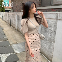 Fashion suit Spring 2021 S,M,L,XL Apricot top, white top, black skirt, apricot skirt 18-25 years old 81% (inclusive) - 90% (inclusive)
