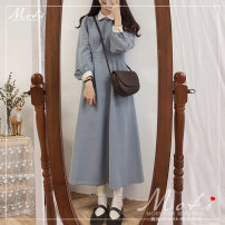 Dress Spring 2020 Coffee, lake blue S,M,L,XL longuette singleton  Long sleeves commute Polo collar middle-waisted zipper routine 18-24 years old Type H Korean version 81% (inclusive) - 90% (inclusive) brocade