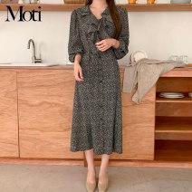 Dress Spring 2021 Khaki, black flowers S,M,L,XL Mid length dress singleton  Long sleeves V-neck 18-24 years old
