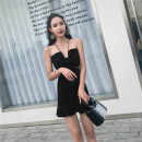 Dress Summer of 2019 black S,M,L Short skirt singleton  Sleeveless commute V-neck High waist Solid color Socket One pace skirt other Hanging neck style 18-24 years old Type O Other / other Britain Splicing 81% (inclusive) - 90% (inclusive) brocade nylon