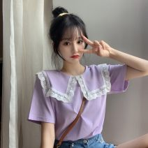 T-shirt Violet, black Average size Summer 2020 Doll Collar polyester fiber 31% (inclusive) - 50% (inclusive) 18-24 years old