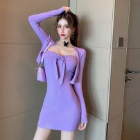 Dress Autumn 2020 Purple, black S,M,L Short skirt Two piece set Long sleeves commute middle-waisted Solid color Socket Pencil skirt routine 18-24 years old Type X Other / other Korean version bow 51% (inclusive) - 70% (inclusive) knitting cotton