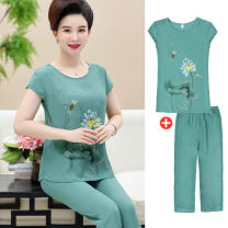 Middle aged and old women's wear Summer 2020 Green, pink, rose red, rose purple XL [about 95-110 kg recommended], 2XL [about 110-125 kg recommended], 3XL [about 125-135 kg recommended], 4XL [about 135-150 kg recommended] Home suit Straight cylinder Two piece set Flower and bird pattern Socket thin
