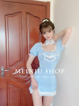 Dress Summer 2020 Blue, this link only sells dresses without collar, please refer to the model shelf ~, my family does not support return! Don't say you didn't see it S,M,L Short skirt singleton  Short sleeve Sweet square neck middle-waisted Solid color Socket Pencil skirt puff sleeve Type X princess