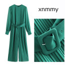Casual pants green XS,S,M,L Spring 2021 trousers Jumpsuit High waist street Europe and America