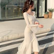 Dress Autumn 2020 Apricot, black S,M,L Miniskirt singleton  Long sleeves commute V-neck High waist Solid color Irregular skirt pagoda sleeve Type X Korean version