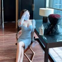 Dress Autumn 2020 wathet S,M,L Short skirt singleton  commute Solid color Korean version