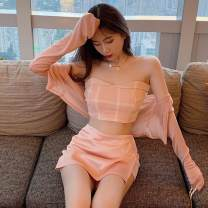 Fashion suit Autumn 2020 Average size Pink jacket, pink skirt s, pink skirt m, pink check bra 18-25 years old 31% (inclusive) - 50% (inclusive) cotton