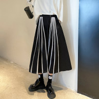 skirt Spring 2021 M,L,XL Classic black Mid length dress street High waist A-line skirt stripe Type A 25-29 years old 8520# Europe and America