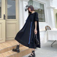 Dress Summer 2021 Classic black, original white Average size Mid length dress singleton  Short sleeve street Crew neck Loose waist Solid color Socket A-line skirt routine Others 25-29 years old Type A Pocket, zipper 81812# Europe and America