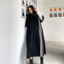 Dress Spring 2021 Smog grey, classic black Average size Mid length dress singleton  Short sleeve street Hood Loose waist stripe Socket other routine Others 25-29 years old Type H Pocket, split 8508# Europe and America