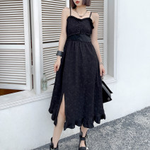 Dress Summer 2021 Classic black S,M,L,XL,2XL Mid length dress singleton  Sleeveless commute other High waist Solid color Socket A-line skirt camisole 25-29 years old Type A Retro Auricularia auricula, stitching, button 8519#