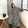 Dress Spring 2021 Wave point Average size Mid length dress singleton  Long sleeves street Crew neck Loose waist Dot Socket other pagoda sleeve Others 25-29 years old Type X Ruffle, fold, lace, print 2273# Europe and America
