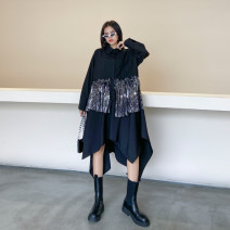 Dress Autumn 2020 Classic black Average size Mid length dress singleton  Long sleeves street other High waist Solid color Single breasted Irregular skirt routine Others 25-29 years old Type H Europe and America
