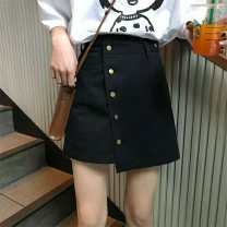 skirt Summer of 2019 M,L,XL,2XL,3XL,4XL Black heavy copper buckle skirt, black hemmed copper buckle skirt Short skirt Versatile High waist A-line skirt Solid color Type A 71% (inclusive) - 80% (inclusive) polyester fiber Rivet, zipper