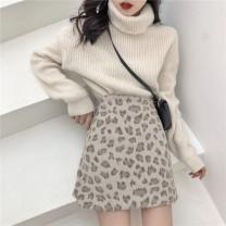 skirt Winter of 2018 S,M,L,XL,2XL,3XL,4XL Picture color Short skirt fresh High waist A-line skirt Leopard Print Type A 81% (inclusive) - 90% (inclusive) Wool