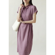Dress Spring 2021 Taro purple in stock S,M,L,XL Mid length dress singleton  Short sleeve commute other High waist Solid color other routine Special clothes Korean version More than 95% other other