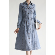 Dress Spring 2021 Denim in stock M, L Mid length dress singleton  Long sleeves commute other High waist Solid color Single breasted shirt sleeve Special clothes Korean version More than 95% Denim cotton
