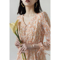 Dress Spring 2021 Orange on rice, purple on black M,L,XL,2XL Mid length dress singleton  three quarter sleeve commute V-neck High waist other other other Special clothes Korean version More than 95% other other