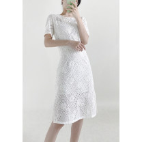 Dress Spring 2021 White spot S,M,L,XL,2XL Middle-skirt singleton  Short sleeve commute Crew neck Solid color zipper routine Special clothes lady More than 95% other cotton