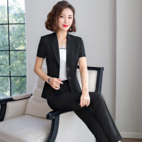 Professional dress suit S,M,L,XL,4XL,5XL,2XL,3XL Summer 2020 Short sleeve loose coat Pleated skirt 25-35 years old