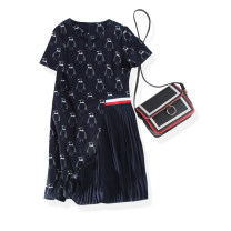 Dress Summer 2020 navy blue Middle-skirt Fake two pieces Short sleeve commute V-neck middle-waisted zipper Hanging neck style 30-34 years old Type X Ol style 31% (inclusive) - 50% (inclusive)