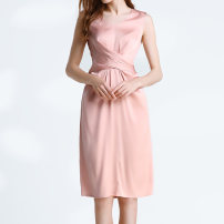 Dress Spring of 2019 Rubber Pink XL,L,M,S,XS Mid length dress singleton  Sleeveless commute V-neck middle-waisted Solid color Socket other other Others Type X MAKEMAGIC Simplicity Frenulum 91% (inclusive) - 95% (inclusive) Silk and satin silk