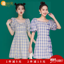 Dress Summer 2021 S,M,L,XL Mid length dress singleton  Short sleeve Sweet Crew neck High waist lattice Pleated skirt shirt sleeve Others Type A Bowknot, ruffle, tuck, embroidery, fold, Auricularia auricula, lace, stitching, printing Mori