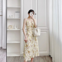 Dress Summer 2020 yellow S, M longuette singleton  Long sleeves commute Crew neck middle-waisted Decor zipper Princess Dress puff sleeve camisole 25-29 years old Type A Print, diamond, lace, hollow out More than 95%