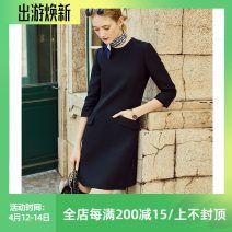 Dress Winter of 2019 Black, red XS,S,M,L,XL Mid length dress Long sleeves Dimple Hsu Q30576 More than 95% other