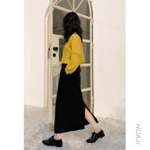skirt Spring 2020 S, M black Mid length dress Sweet High waist Little black dress Solid color Type H 18-24 years old Q059 More than 95% other Huaji cotton college