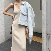 Dress Spring 2021 Brown, cream apricot, base black M, L Mid length dress singleton  Sleeveless commute V-neck High waist Solid color Socket A-line skirt camisole Type A ekool Korean version 81% (inclusive) - 90% (inclusive)