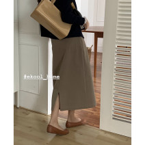 skirt Autumn 2020 S,M,L Off white (after the spot year), khaki green (after the spot year) longuette commute High waist Solid color 81% (inclusive) - 90% (inclusive) ekool cotton Button Korean version