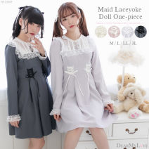 Dress Spring 2020 Dark gray, light grayish purple, beige pink, cream white M, L Short skirt singleton  Long sleeves Sweet Crew neck High waist Solid color zipper Princess Dress routine Others 18-24 years old Type A solar system