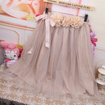 skirt Summer of 2018 Average size Meat Pink Mid length dress Sweet Natural waist Fluffy skirt Solid color Type A 18-24 years old liz lisa angel