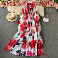 Dress Spring 2021 Green, red, purple S,M,L,XL,2XL longuette singleton  Long sleeves commute Crew neck High waist Decor Socket Pleated skirt routine 18-24 years old Type A Korean version Ruffle, pleat, lace up, print 30% and below other other