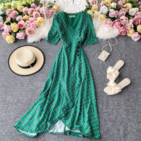 Dress Summer 2020 green S,M,L Mid length dress singleton  Short sleeve commute V-neck High waist Solid color Socket A-line skirt other Others 18-24 years old Type A Korean version 30% and below other other