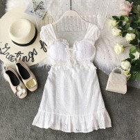 Dress Summer of 2019 White, pink, light blue S,M,L Short skirt singleton  Sleeveless commute square neck High waist Solid color Socket A-line skirt other camisole 18-24 years old Type A Korean version Bow, ruffle, tuck, backless, embroidery, fold, lace, bandage