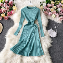 Dress Autumn 2020 Average size Mid length dress singleton  Long sleeves commute Crew neck High waist Solid color Socket A-line skirt routine Others 18-24 years old Type A Korean version 30% and below other other