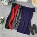 Dress Summer of 2019 Gray, black, red, blue Average size Short skirt singleton  Short sleeve commute One word collar High waist Solid color Socket One pace skirt other Breast wrapping 18-24 years old Type X Korean version Lotus leaf, open back, Auricularia auricula 31% (inclusive) - 50% (inclusive)