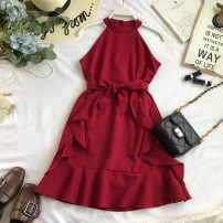 Dress Autumn of 2018 Average size Middle-skirt singleton  Sleeveless commute High waist Solid color Socket A-line skirt Hanging neck style 18-24 years old Type A Korean version
