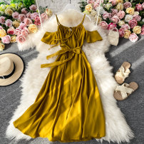 Dress Summer 2020 green S,M,L Mid length dress singleton  Short sleeve commute V-neck High waist Solid color Socket A-line skirt routine camisole 18-24 years old Type A Korean version 30% and below other other
