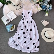 Dress Summer of 2019 White, ginger, yellow, green, black, pink, blue, red Average size longuette singleton  Sleeveless commute square neck High waist Dot Socket Big swing routine camisole 18-24 years old Type A Retro Open back, fold, wave, print 30% and below polyester fiber